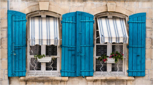 Blue Window Shutters by Maria Macklin